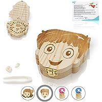 Amazy Milchzahndose inkl. Pinzette und Zahnfee Brief – Niedliche Zahndose aus Holz zur Aufbewahrung der Milchzähne und Zahnfeebrief für den ersten Wackelzahn
