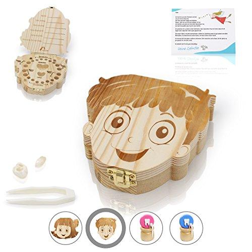 Amazy Milchzahndose inkl. Pinzette und Zahnfee Brief - Niedliche Zahndose aus Holz zur Aufbewahrung der Milchzähne, Flaum und Nabelschnur mit Zahnfeebrief für den ersten Wackelzahn (Groß | Junge)