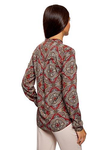 oodji Collection Damen Viskose-Bluse mit Druck und Stehkragen Rot (4533E)