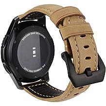 Correa de Reloj para Gear S3/Pebble Time, MroTech 22mm Pulsera de Cuero Genuino Watchband Repuesto de Correa para Reloj Samsung Gear S3 Frontie/ Classic,Moto 360 2 46mm,Huawei Watch 2 Classic (Khaki)