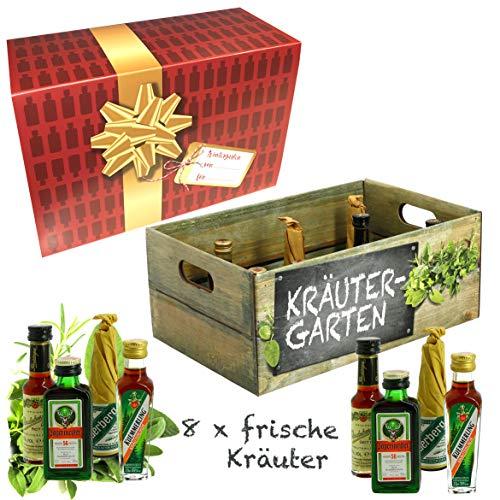 Creofant Kräutergarten Wintergarten · Witzige Geschenkidee für Männer und Frauen mit Alkohol · 8 x Kräuter-Likör · Hochwertige Geschenkbox - Limitierte Edition