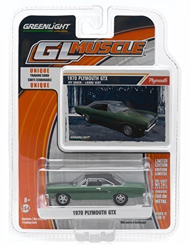 1970 PLYMOUTH GTX (Ivy Green) * GL Muscle Series 12 * Greenlight Collectibles 1:64 Scale 2015 Die-Cast Vehicle & Trading Card by Greenlight (12 1 Scale Diecast)