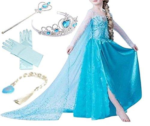 YOGLY Mädchen Prinzessin Elsa Kleid Kostüm Eisprinzessin Set aus Diadem, Handschuhe, Zauberstab, 150, violett (Schnelle Dress Lieferung Fancy)
