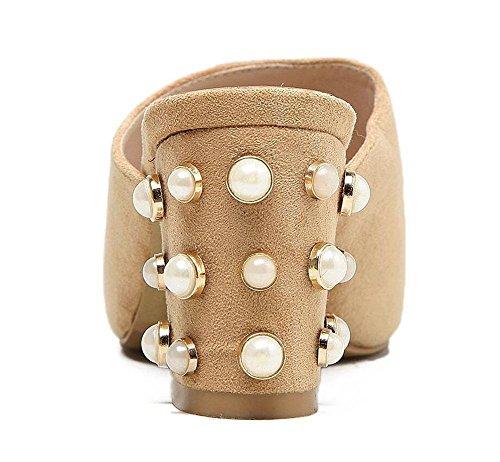 NARUX Damen Peep Toe Pumps Sommer High-Heel Sandalen gezogene weibliche Sandalen Wildleder Perlen Schuhe apricot hEuooHAwtS