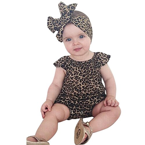Outfits Sets Kind Janly 0-18 Monate Mädchen Leopard Strampler Overall Stirnband (9-12 Monate, Schwarz) Baby Leoparden Rock