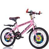 DUWEN Bicicleta para niños de una Velocidad 18/20/22/24 Pulgadas 7-12 años para Hombres y Mujeres Estudiantes de Escuela Primaria y Secundaria Mountain Bike Pink (Tamaño : 18 Inch)