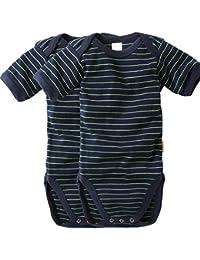 wellyou, 2er Set Kinder Baby-Body Kurzarm-Body, marine-blau neon-gelb gestreift, geringelt, für Jungen und Mädchen, Feinripp 100% Baumwolle, Größe 50-134