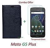 YuniKase (COMBO OFFER) for Motorola Moto G5 Plus / Moto G5 Plus - - - Fancy Wallet Flip Cover Case (Black) + Premium Screen Guard Tempered Glass Protector - - - ( Transparent )