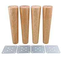BQLZR 25cm Height Wood Color Tapered Reliable Wood Furniture Cabinets Legs Sofa Feets Pack of 4