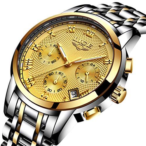 Herren Uhren Militär Edelstahl Schwarz Wasserdicht Chronograph Armband-Uhr Männer Mode Datum Kalender Analog Quarzuhr