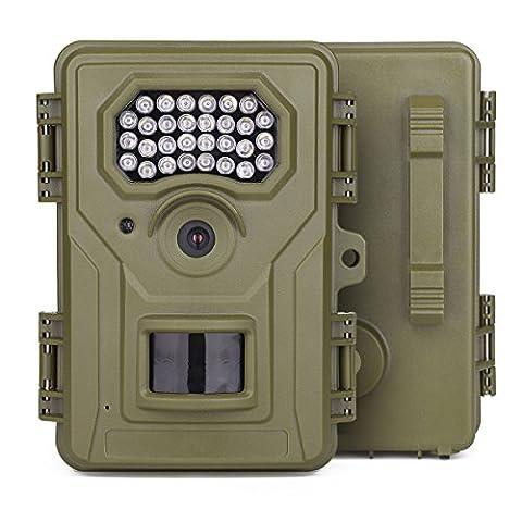 Walsung 12 MP Trail Caméra HD 1080p avec 30 pcs IR Flash LED pour vision nocturne 6,1 cm LCD écran extérieur étanche Wildlife Digital Scoutisme Caméra de surveillance