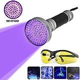 100 LEDs UV Schwarzlicht Taschenlampe mit UV-Schutzbrille, Professional Heimtierurindetektoren, für eingetrocknete Flecken Ihrer Hunde, Katzen und Nagetiere auf Teppichen, Vorhänge, Gardinen, Möbel
