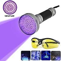 100 LEDs UV Schwarzlicht Taschenlampe mit UV-Schutzbrille,Ultraviolett Taschenlampe LED Handlampe Professional Heimtierurindetektoren, für eingetrocknete Urin- Flecken der Hunde, Katzen und Nagetiere auf Teppichen, Vorhänge (Alulegierung)