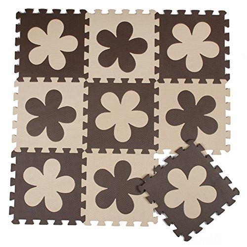 ZZYY Spielmatte Puzzle - Beige und Braun Blumen
