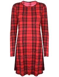 Neue Damen Unterhemd, Swing Ausgestelltes Kleid; langarm, Jersey, kurzärmelig, 50er Jahre, Gr. S/M (8-10), Schottenkaro, Rot/Schwarz