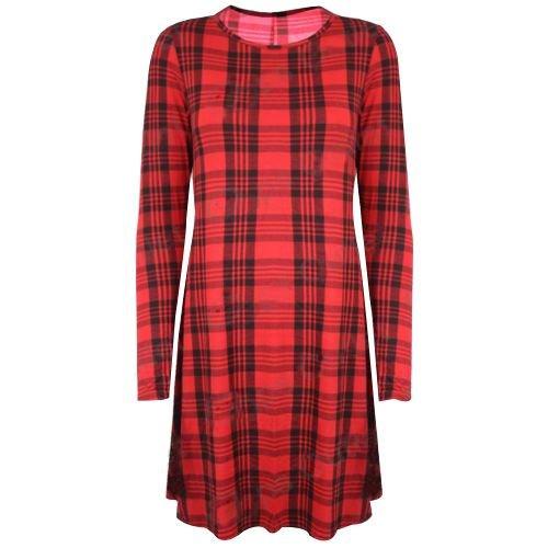 Stretch pour femme à manches longues, un Line Robe Patineus'évasée Swing des neiges Taille 36-50 tartan rouge