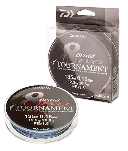 Daiwa Tournament 8 Braid Evo, Multicolor, 0.20mm, 18.0kg / 39.7lbs, 1000m, Rund Geflochtene Angelschnur, 12782-220
