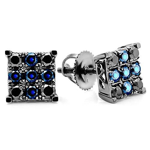 Weißgold Ohrstecker Ohrringe Quadrat (Herren Ohrringe / Ohrstecker 10 Karat Weißgold Rund Schwarz Diamant & Blau Saphir Quadrat Form)