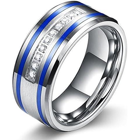 YKQJING Japón y Sur Corea personalizada con incrustaciones de joyas CZ anillo nuevo tungsteno dominante de los hombres