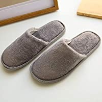 1 pair Of Indoor Home Slippers Warm Wooden Floor Thick Cotton Slippers Autumn And Winter Couples Slippers Makalong Color HairDisposable Slippers, Great For Hotel, Spa, Guest,Size:42/43 EU