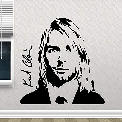 zzlfn3lv Kurt Cobain Wandtattoo Grunge Nirvana Vinyl Aufkleber Rockstar Sänger Musikstudio Aufkleber Rock Wandkunst Design Haushaltswaren 60 * 60 cm