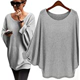 JiaMeng Damen Oversized Batwing Strickpullover lose Pullover Solid Color Button Top