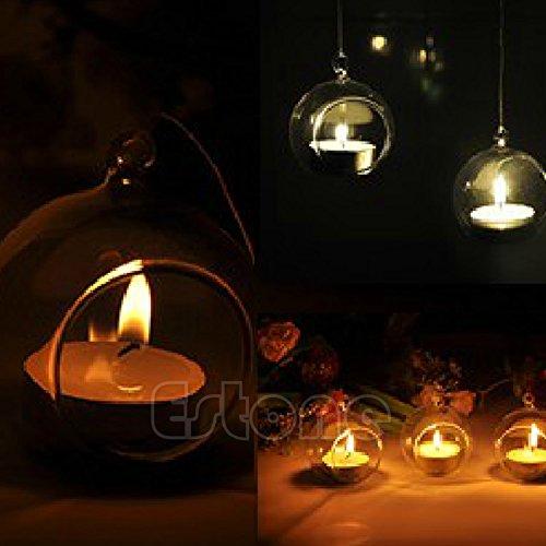 Hergon Kerzenhalter/Teelichthalter, Glas, Kugeln, zum Aufhängen, 1 Stück