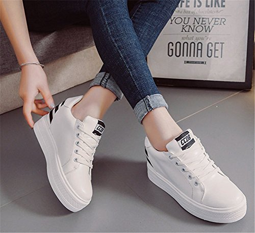 wealsex Baskets Compensées Femme PU Cuir Sneaker Chaussures de Tennis Noir