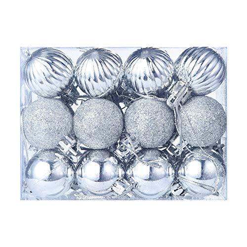 Bestow Árbol de Navidad decoración Bola Bola chuchería Colgante casa Partido Ornamento decoración (tamaño Libre, Plata)