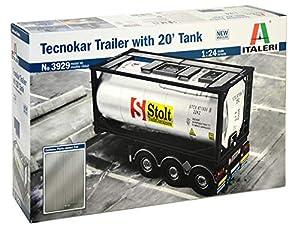 Italeri 3929S - Maqueta de Trailer Tecnokar (Escala 1:24, con Tanque de 20 pies, para Montar, modelismo, Manualidades, aficiones, Pegar, Kit de Montaje de plástico, Fiel a los Detalles)