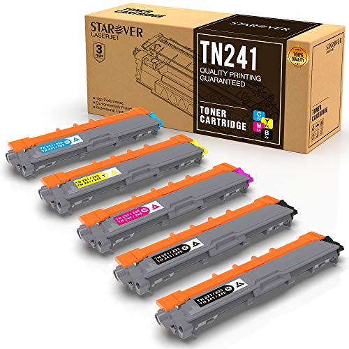 STAROVER 5-Pack TN241 TN245 Sostituzione per Brother TN241 TN245 Compatibile con Brother DCP-9020CDW DCP-9015CDW HL-3140CW HL-3150CDW HL-3170CDW MFC-9340CDW MFC-9130CW MFC-9140CDN MFC-9330CDW