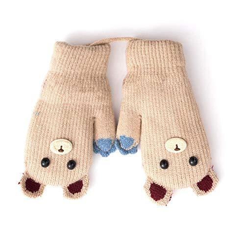 (Urben Life Kreative Warme Fäustlinge Kinder, Niedliche Cartoon Muster Kleine Bär Handschuhe Winterhandschuhe Sporthandschuhe Für Kinder Zwischen 4-8 Jahre Alt)