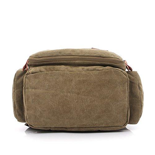Herren-Rucks?cke-15,6-Zoll-Notebook-Taschen canvas Umh?ngetasche Khaki