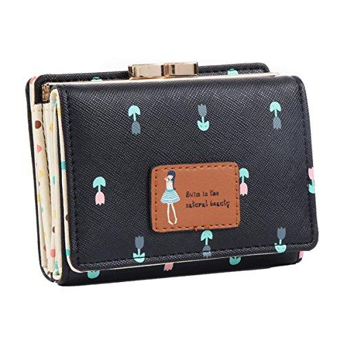 Damara da ragazza a portafoglio piccolo porta carte, nero (Black),