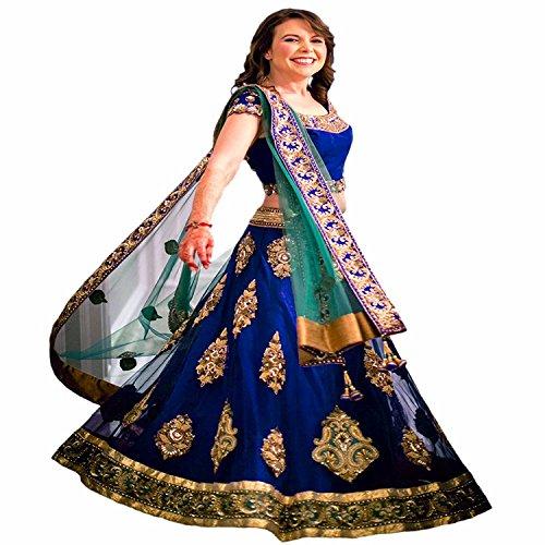 lehenga(Vaankosh Fashion Women\'s Blue Net Lehenga Choli)