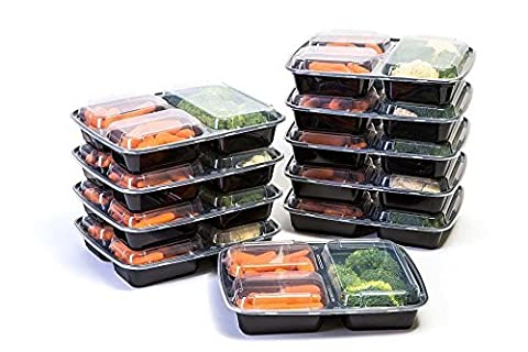 Value Pack Manage Meal 3 Compartment Lunch Boxes - Food Preparation and Storage Containers with Lids - Set of 10 Bento Boxes Reusable Perfect for Work, School, and Picnics!