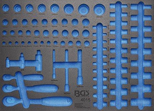 BGS 3/3 leere Werkstattwageneinlage für Umschaltknarren und Steckschlüsseleinsätze 4015-5