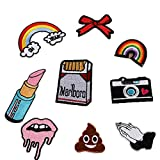 SevenMye 9pcs/lot Cloth Patches Garment Applique DIY Decoration Accessories Iron On Embroidered Patch Set- Rainbow Lipstick Camera Hands Shape