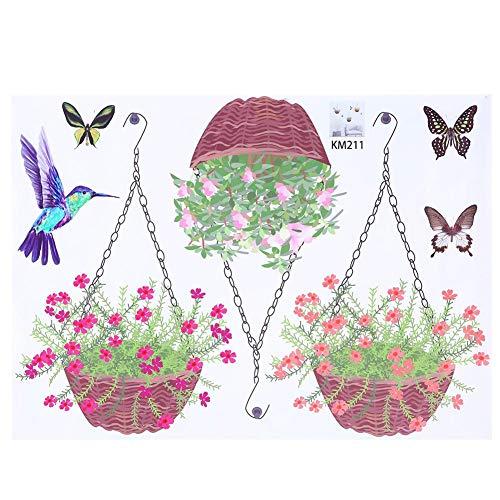 WYANG DIY Cartoon Abnehmbare PVC Vivd Wandaufkleber Art Home Kinderzimmer Wandbild Hintergrund Dekor Korb Blume - Bibliothek Korb