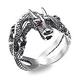 Aeici Titane Anneau Homme Dragon Anneaux Rétro Punk Rouge Diamant Argent Largeur 0.8Cm Taille 54