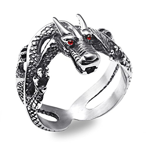 Beydodo Schmuck Edelstahl Ring für Männer Tier Drachen mit Zirkonia Partnerringe Silber Punk Ringe Große 65 ()