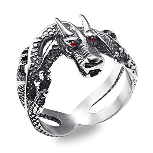 KnBoB Ringe Herren Edelstahl Drachen Retro Punk Edelstahl Rot Diamanten Drachen Silber 57 (18.1)