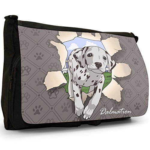 Borsa Scuola borsa Messenger Dalmatian A Through Breaking Per Tela Grande Spezzare Nera Cani Laptop Tracolla