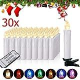 Miafamily RGB LED Kerzen Kabellose Baumkerzen Weihnachtskerzen mit Infrarot Fernbedienung, Timerfunktion,Kerzenlichter Flammenlose,Weinachten LED für Weihnachtsbaum,Weihnachtsdeko(30 pcs)