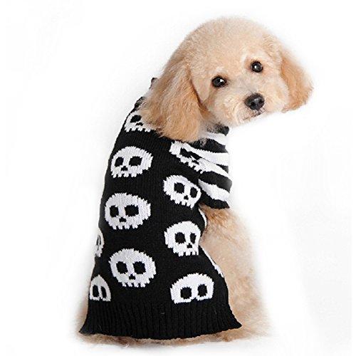 Etbotu Schwarzes weißes gestreiftes Skeleton Haustier Hundekatze Welpen kleidet Halloween Strickjacke Kostüm Ausstattung (Welpen-halloween-kostüme)