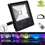RGB Strahler Außen 30W LED Fluter mit Fernbedienung Außenstrahler Dimmbar IP66 Wasserdicht für Party, Garten (Kein Stecker)