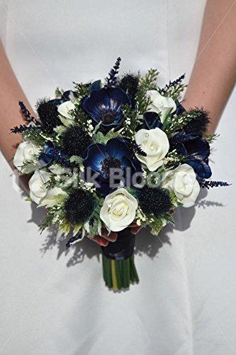 Mezzanotte blu Anemone, cardo scozzese e bianco Fresh Touch Rosa Bouquet Da Sposa - Anemone Bouquet Da Sposa