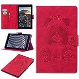 Yomiro Cover Amazon Fire HD 8, Custodia Portafoglio per Fire HD 8 (8 Pollici, 7ª Gen - 2017) Tablet, Panda Flip Smart Cover in Pelle PU con Sonno/Sveglia la Funzione Protezione Rigida Case - Rosso