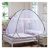 DUXY Pop up moskitonetz, Falten Luxus Yurt Pop Up Verschlüsselung Doppeltür Anti-Moskito Zelt, Schlafzimmer Outdoor Camping Tragbare Moskitonetz (Blau),150x200x150cm
