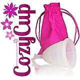 Coupe menstruelle CozyCup | Fabriqué exclusivement en silicone médical | Avec sac gratuit (grande, blanc)